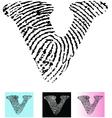 Fingerprint Alphabet Letter V vector image vector image