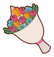 cute floral bouquet fresh flowers wrapped vector image