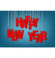 Letters happy new year hanging on a ropes vector image