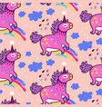 seamless pattern with cute unicorns rainbows vector image