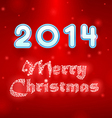 Snowy Merry Christmas red background vector image
