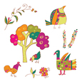 Traditional birds and flowers vector image
