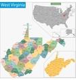 West Virginia map vector image