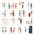 trying shop flat people icon set vector image
