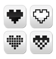 Pixel heart buttons set - love dating onli vector image