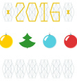 2016 Christmas New Year greeting card Balls with vector image