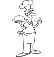 Cartoon man in a chef hat holding a platter vector image
