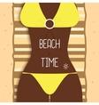 Sexy beautiful dark-skinned girl in bikini Young vector image