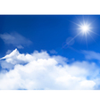 Blue sky with clouds and sun background vector image