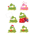 funny girl snake set vector image