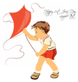 Happy boy playing with his kite vector image