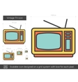Vintage TV line icon vector image