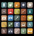 pharmacy flat icons with long shadow vector image