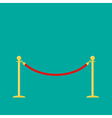 Red rope golden barrier stanchions turnstile green vector image