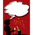 Silhouette girl with champagne glass vector image