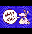 - Happy Easter Rabbit Bunny on Blue Background vector image