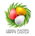 Happy Easter greeting card with eggs Concept can vector image vector image
