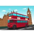 Big Ben with red double-decker bus in London UK vector image