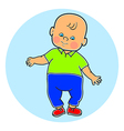 Little lovely baby boy standing walking learning vector image