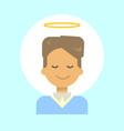 male with angel nimbus emotion profile icon man vector image