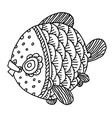 richly decorated fish hand drawing vector image