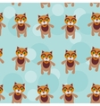 Seamless pattern with funny cute cat animal on a vector image