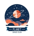 Vintage space and astronaut badge or label vector image