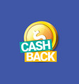cash back icon isolated on blue background vector image
