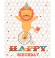 Happy birthday card with happy lion vector image vector image