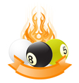 billiard ball emblem in flame vector image
