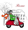 woman on scooter vector image