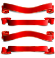 red ribbons with golden stripes vector image