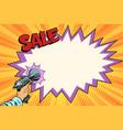sale comic cloud science fiction shot of a blaster vector image