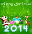 Santa and many magic gifts in forest trees vector image
