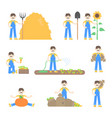 set of farmers and gardeners vector image