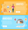 warehouse logistics and management flyers vector image