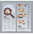 Real Estate flyers with houses icons magnifier vector image