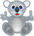 funny koala cartoon with thumb up vector image vector image