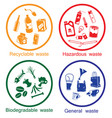 waste types icon set vector image