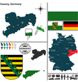 Map of Saxony vector image vector image