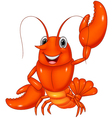 Cartoon lobster waving on white background vector image vector image
