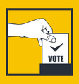 Election - hand throws vote bulletin into box vector image