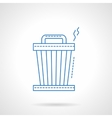 Blue flat line trash can icon vector image