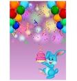 Cute rabbit holding birthday cake vector image