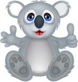 funny koala cartoon with thumb up vector image