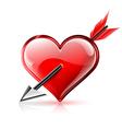 Glossy heart pierced by an arrow vector image