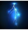 Realistic lightning on blue background vector image