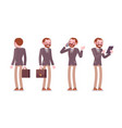 set of male teacher in standing poses rear front vector image