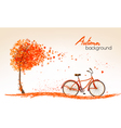 Autumn nature banners with a tree and a bicycle vector