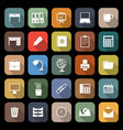 workspace flat icons with long shadow vector image